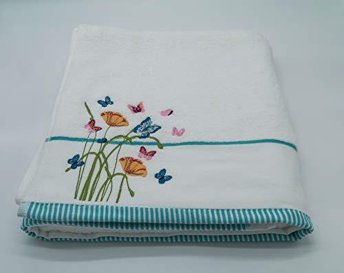 Lex's Linens - Toallas Bordadas con diseño Floral y Mariposas, algodón, Toalla, 100 x 140 cm
