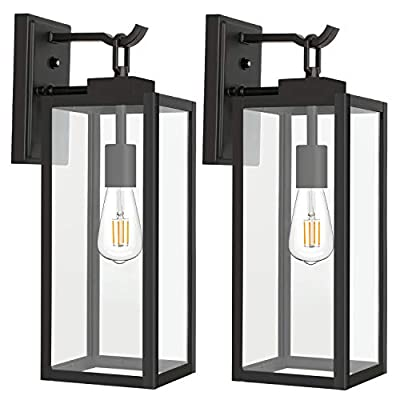 Hykolity Outdoor Wall Lantern with Dusk to Dawn Photocell, LED Bulb Included, Matte Black Wall Light Fixtures, Architectural Wall Sconce with Clear Glass Shade for Entryway,Porch,Doorway,ETL-2 Pack