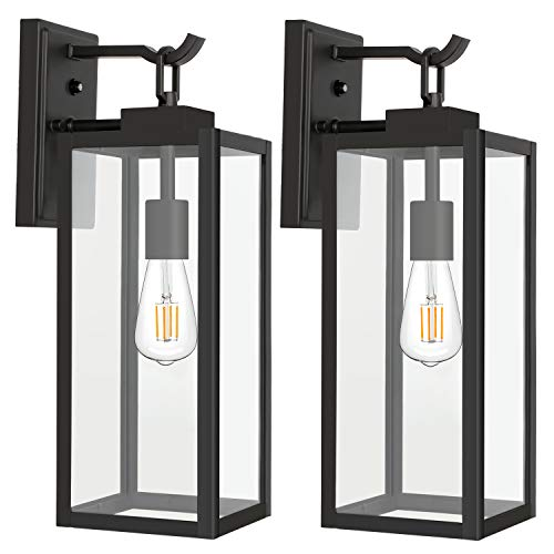 Outdoor Wall Lantern with Dusk to Dawn Photocell, Matte Black Porch Lights Exterior Wall Lighting, Architectural Outdoor Sconces with Clear Glass Shade for Entryway, Doorway, ETL Listed, 2 Pack