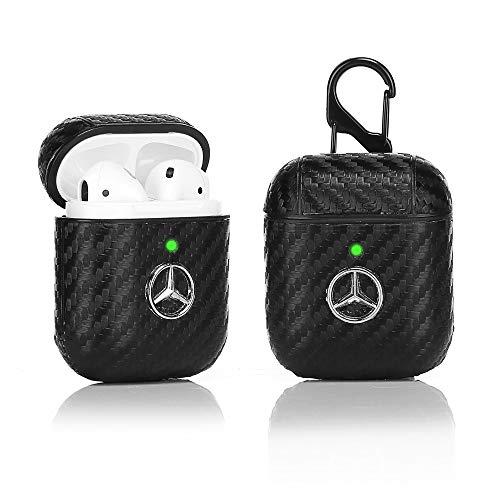 LKDEPO Airpods Leder-Schutzhülle mit Schlüsselanhänger, kompatibel mit Apple Airpods 1 und 2 [LED vorne, sichtbar] [3D Auto Logomuster] [Stilvolles Designer für Herren & Jugendliche] Mercedes Benz-1