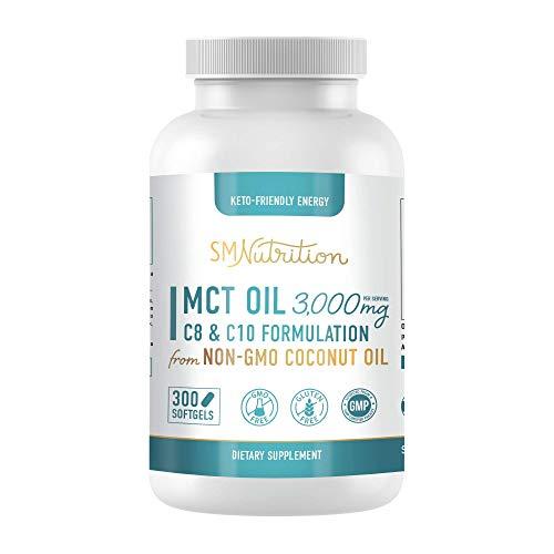 MCT Oil Softgels 3000mg 300 Coconut MCT Oil Supplement Softgels Perfect Keto Softgels C10 Capric Acid and C8 Caprylic Acid Coconut Oil to Lose Weight MCT Oil Brain Octane Oil