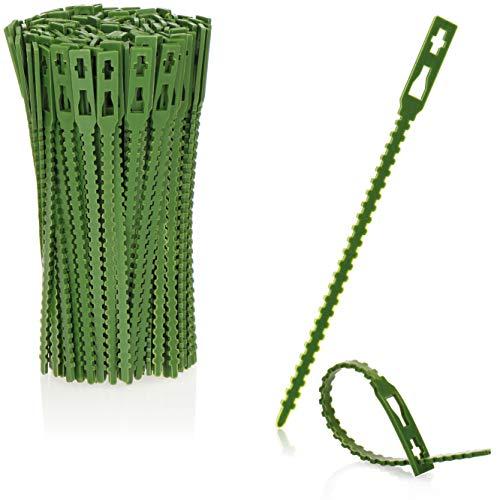 com-four® 200x Pflanzenbinder grün aus Kunststoff - Pflanzen stabilisieren - Baumbindeband - Pflanzen-Befestigung - Pflanzenclips, 14 cm (14cm)