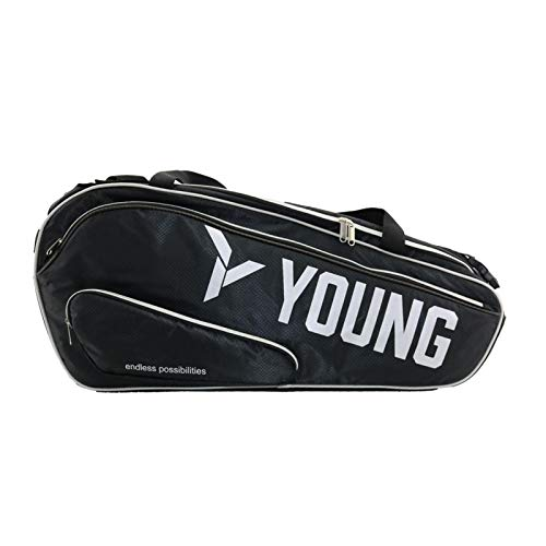 Young Badminton Bag Premium Tournament Series; Large Capacity for Badminton/Tennis Rackets, Thermal Compartment, Dedicated Clothing & Shoes Compartments, Adjustable/Convertible Straps
