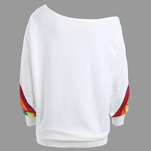 Women Sweatshirt TUDUZ Women Casual Loose One Off The Shoulder Long Sleeve Rainbow Print Pullover Tops Blouse Shirts (White,UK-12/CN-M)