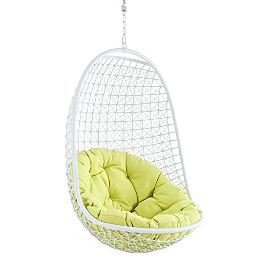 Modway Encounter Wicker Rattan Outdoor Patio Porch Lounge Hanging Swing Chair Set with Stand in White