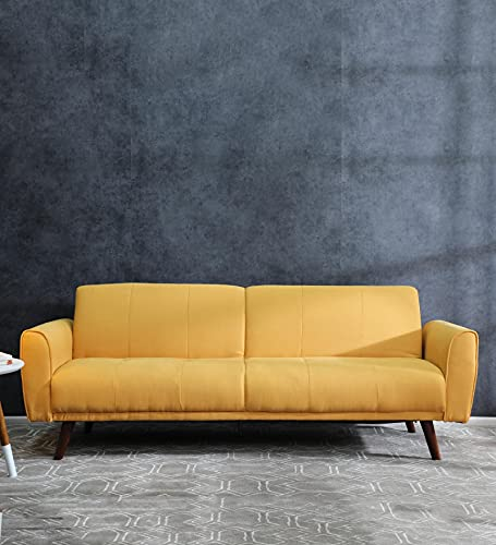 CasaCraft by Pepperfry - Aciano Sofa Cum Bed in Yellow Colour