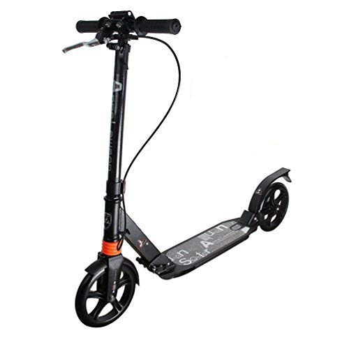 MEICHEPRO Kick Scooter, 7.9 inches (20 cm) Big Tires, Foldable, 3 Adjustable Levels, Carrying Sling Belt for Kids and Adults (Black))