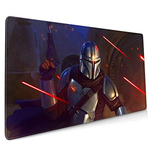 Star Mandaloria_n Wa_rs Mouse Pad Large Gaming Mouse Pads with Nonslip Base Portable & Foldable Stitched Edges Desk Cover Computers Keyboard(15.8x35.5 Inch)