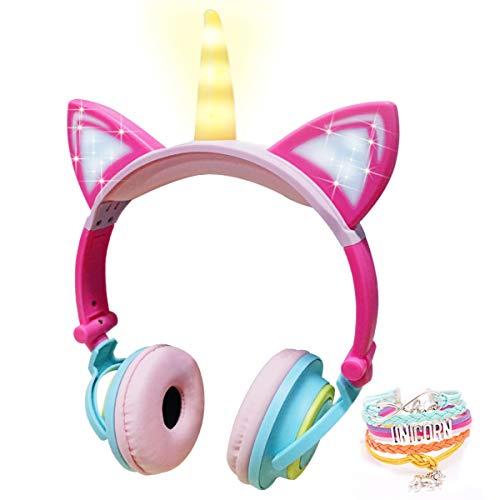 Auriculares Unicornio Infantiles,Auriculares de 85dB Volumen Limitado con LED Orejas de Gato para Niña para Teléfono Móvil PC MP3