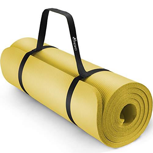 TRESKO® Tappetino per Yoga 185 x 60 cm e 190 x 100 cm Pilates Tappeto Ginnastica Fitness Aerobica NBR (Giallo, 185 x 60 x 1 cm)