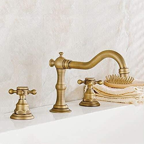 ETRVBSWE - Grifo de bañera de latón antiguo doble y tres manijas baño bañera grifo montado en agua caliente y fría grifo del lavabo == {5 piezas}