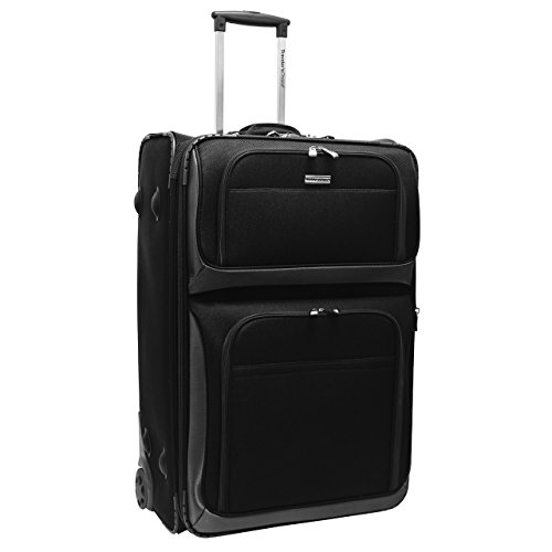 Traveler's Choice Conventional II Softside Expandable Rugged Rolling Upright Suitcase, Lightweight Travel Luggage, Black, Checked-Large 30-Inch