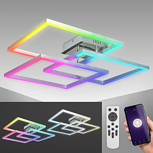 Lámpara de techo LED WiFi de B.K.Licht inteligente I App y mando a distancia I regulable I CCT I RGB I control por voz I compatible con iOS y Android