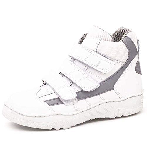 Bota deportiva HORMA RECTA niños CALZAMEDI, piel blanco/gris, ancho 6,capacidad plantillas. Mod.4116 (Blanco, numeric_38)