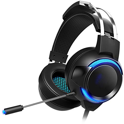 WLKDMJ Casque Bluetooth illimité, Casque Jeu De Jeu 7.1 Manche avec Annulation de Bruit Flexible Micro et contrôle en Ligne Cache-Oreilles Molles avec PC / PS4 / Xbox One/Switch-3.5+USB