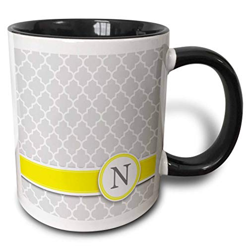 Novelty Ceramic Mug 11 oz Funny Coffee Mug Unique Gift Your Personal Name Initial Letter N Mug Black Coffee Cup wiht Colored Rim and Handle for Men Women