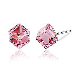Pink Swarovski Crystal Drop Stud Earrings