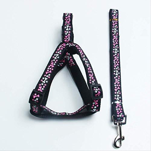 Correa de perro para mascotas con correa de pecho para perros grandes, medianos y pequeños, ancho 2 x 120 cm, color negro