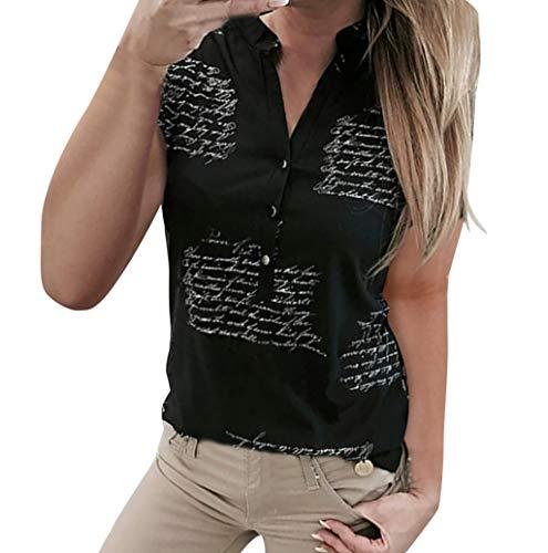 Damen Bluse tailliert Langarm V-Ausschnitt Hemdbluse elegant Brief druckenTunika Oberteil festlich Kent-Kragen auch für Business und unter Pullover von TWBB