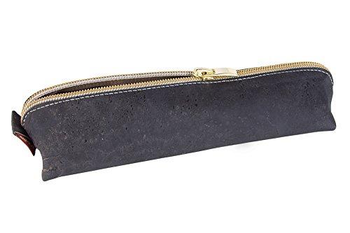 SIMARU Federmäppchen/Federtasche aus Kork, Schlampermäppchen mit hochwertigem Reißverschluss, Stiftemappe in vielen Farben für Damen & Herren (schwarz)