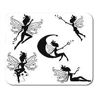 マウスパッド翼黒妖精かわいい妖精シルエットノートブック、デスクトップコンピューターマウスマット、オフィス用品の魔法のおとぎ話マウスパッド