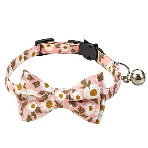 WXLH Pequeño Cuello de Gato Floral Fresco y Encantador Collar de Arco Suministros para Mascotas(Rosa,S1.0 * 28cm)