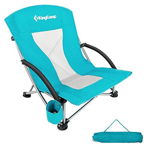 KingCamp Strand Liege Stuhl Camping Klapp Falt Sessel Niedrig Garten Stahl 136kg Cyan
