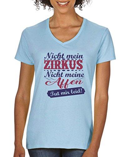 Comedy Shirts - Nicht mein Zirkus, Nicht Meine Affen. TUT Mir leid! - Damen V-Neck T-Shirt - Hellblau/Lila-Fuchsia Gr. XXL