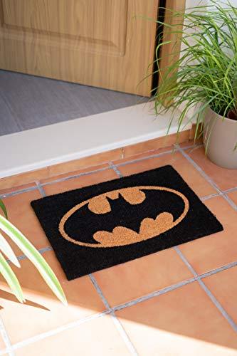 Felpudo Batman - Felpudo entrada casa antideslizante 40 x 60 cm - Alfombra entrada casa exterior logo Batman DC Comics, Fabricado en fibra de coco - Productos con licencia oficial