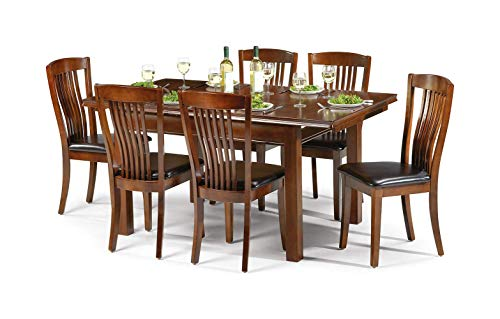 Julian Bowen Canterbury Extending Dining Table and 6 Chairs, Mahogany