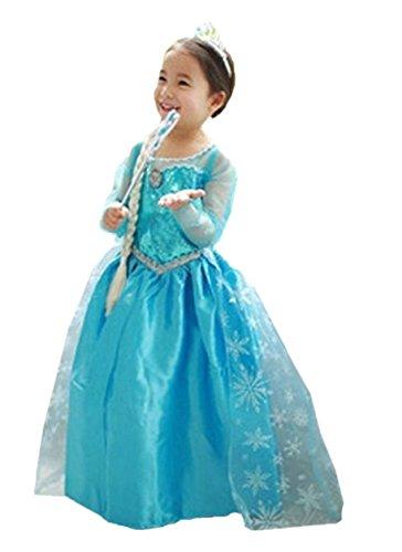 ELSA & ANNA® Filles Reine des Neiges Princesse Partie Costumée Déguisements Robe de Soirée FR-DRESS-SEP306 (5-6 Ans, FR-SEP306)