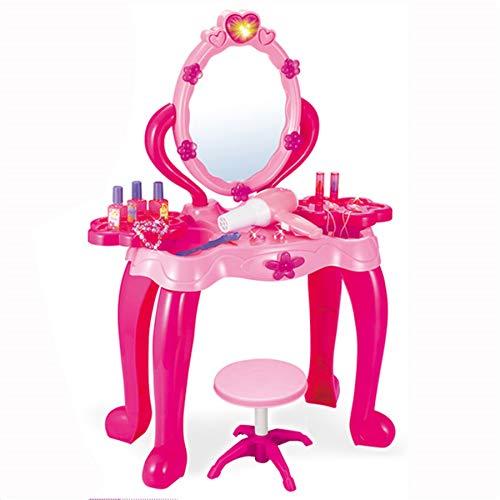 TikTakToo Schminktisch Frisiertisch für Kinder Mädchen Hocker Spiegel Rosa/Pink Kosmetiktisch Kosmetik Kinderschminktisch Prinzessin mit 14 teiligem Zubehör