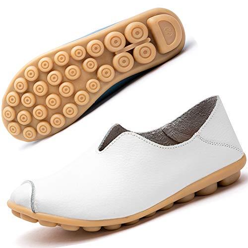 Gaatpot Damen Schuhe Mokassins Leder Bootsschuhe Loafers Fahren Flache Casual Freizeitschuhe Hausschuhe Sommer Schuhe Weiß EU37.5=CN38