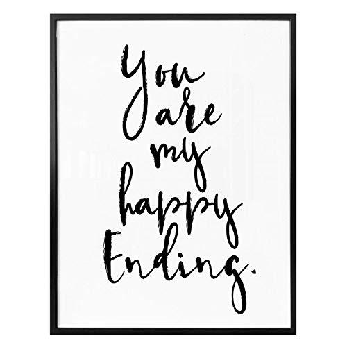 Poster You are my happy ending typografie spreuk citaat liefde trend zonder accessoires Wall-Art 60x80 cm zwart
