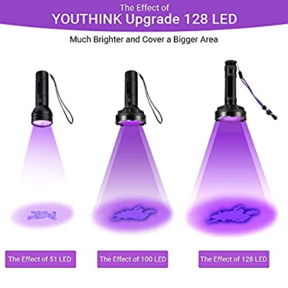 YOUTHINK UV Torch, 128 LED UV Flashlight with UV Protection Glasses, 395nm Upgraded 128 LED Flashlight Black Light Ultraviolet Lamp, Dog Cat Urine Detector, for Carpet/Floor 2