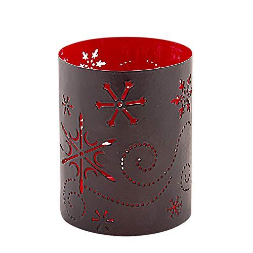 Bitto Lykta KRISTALL lykta röd/svart, H: 10 cm, Ø 8 cm