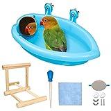 Baignoire avec miroir pour perroquet, perruche, cage, accessoire de baignoire, miroir en bois, perchoir avec pompe à main pour...