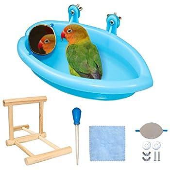 Baignoire avec miroir pour perroquet, perruche, cage, accessoire de baignoire, miroir en bois, perchoir avec pompe à main pour perroquet, perruche, perruche, calopsitte (style 1)