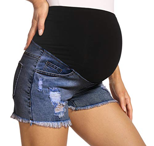 V VOCNI Distressed Frayed Hem Maternity Jean Shorts High Waist Cotton Elastic Belly Band Pregnancy Denim Short Dark Blue Medium