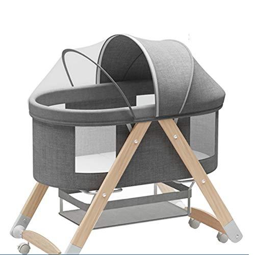 XYSQ Deluxe Minicuna Plegable Regulable En Reclinable, Plegado Fácil, Colchon Cuna Incluido,Cuna De Colecho para Recién Nacidos Ventilación (Color : Gray)