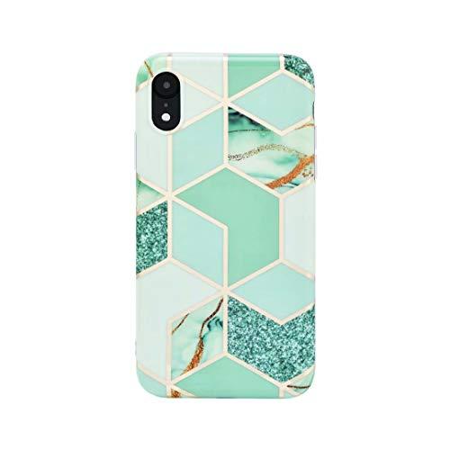 Compatible con iPhone XR Caso Girly Luxury Glitter Oro Lámina Lindo Diseño Chicas Niñas Mujeres Full Protector Celosía Suave Funda para iPhone XR (Verde)