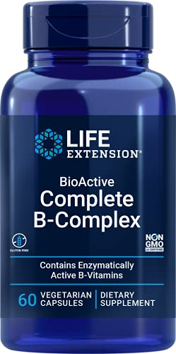 Life Extension BioActive Complete B Complex – Complete Formula for Vitamin B Benefits – Gluten-Free, Non-GMO – 60 Vegetarian Capsules