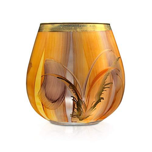 Angela Neue Wiener Werkstätte Vaso portacandela Vespio, Siena in vetro dipinto dorato, vetro, marrone chiaro, misura media