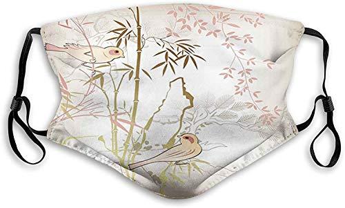 Cubierta de filtro vintage natural de hojas de bambú y lindos pájaros en ramas, estampado de animales, cubierta facial reutilizable, lavable para hombres y mujeres