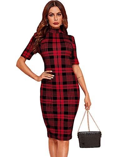 SheIn Women's Short Sleeve Plaid Grid Round Neck Elegant Sheath Pencil Bodycon Dress Medium Red Plaid
