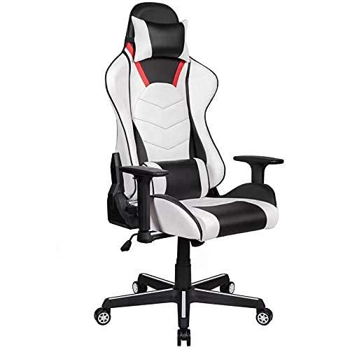 DGDF Serie Premium Silla para juegos con respaldo alto, reclinable, giratoria, inclinación, basculante y mecanismo de ajuste de altura del asiento