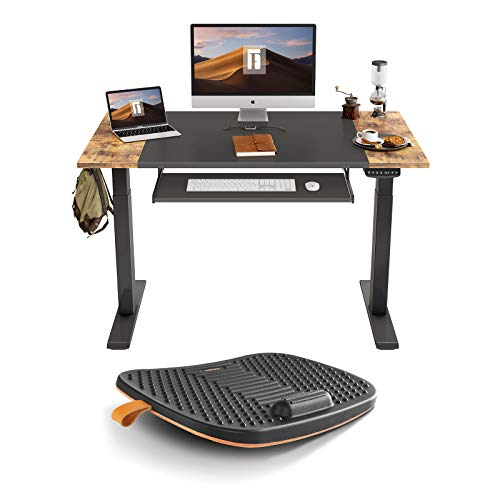 FEZIBO Dual Motor Standing Desk with Pull-Out Keyboard Tray, 48 x 24 inches Splice Board | Standing Desk Mat with Anti Fatigue Bar, Wooden Wobble Balance Board (Medium, Obsidian Black)