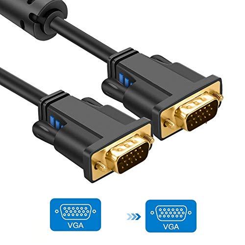 GWWDNB-XXB Cable VGA a VGA, Cable de Monitor VGA, Compatible con computadora portátil, PC, proyector, HDTV, Pantalla y más Dispositivos compatibles con VGA compatibles con 1080P Full HD (5 m) -Balck