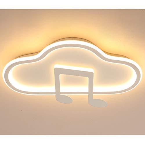 Lámpara De Techo Lámpara De Habitación Infantil LuzDeTecho LED Música Nubes Diseño Regulable Con Control Remoto Pantalla De Acrílico Metal Para Comedor Baño Niños Niñas Dormitorio,Blanco,50*28cm/32W
