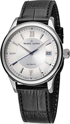 Maurice Lacroix Les Classiques Automatique Date Herren-Armbanduhr Analog Automatik mit schwarzem Lederband LC6027-SS001-110-3